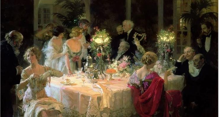 Как правильно было сидеть за столом и произносить тосты в 19 веке