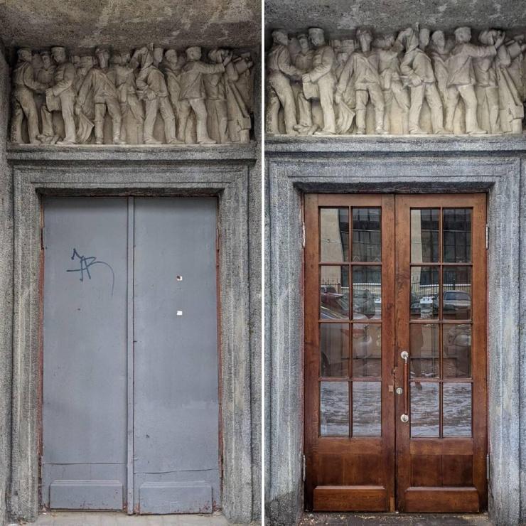 В Петербурге восстановили парадные двери Адмиральского дома. Жители собрали деньги краудфандингом