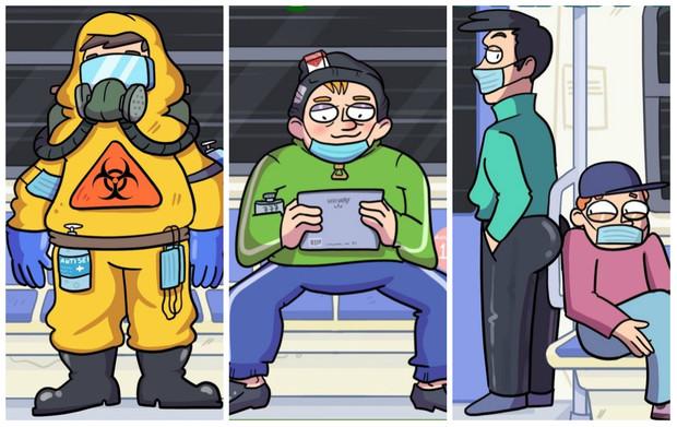 5 типов пассажиров ковидного метро злободневный комикс от российского автора (6 фото)