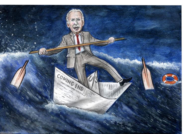 В шторм на бумажном кораблике. Рисунок Альберта Растяпина.