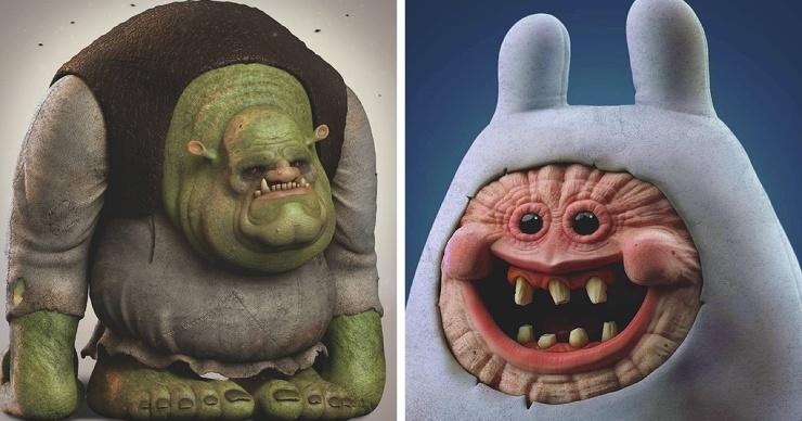 Австралиец превращает мультяшных персонажей в монстров, которые легко могут сломать психику ребёнку внутри вас (11 фото)