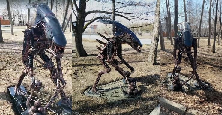 В Кургане появился памятник Чужому  куда более брутальный, чем прототип из фильма