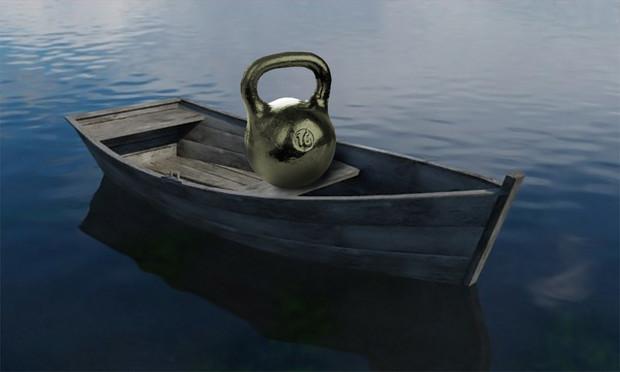 Логическая головоломка недели лодка с гирей