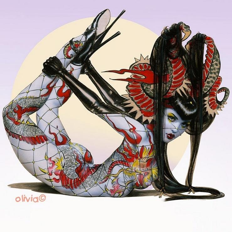 Сексуальные пинап-красотки художницы Оливии Де Берардинис (34 фото)