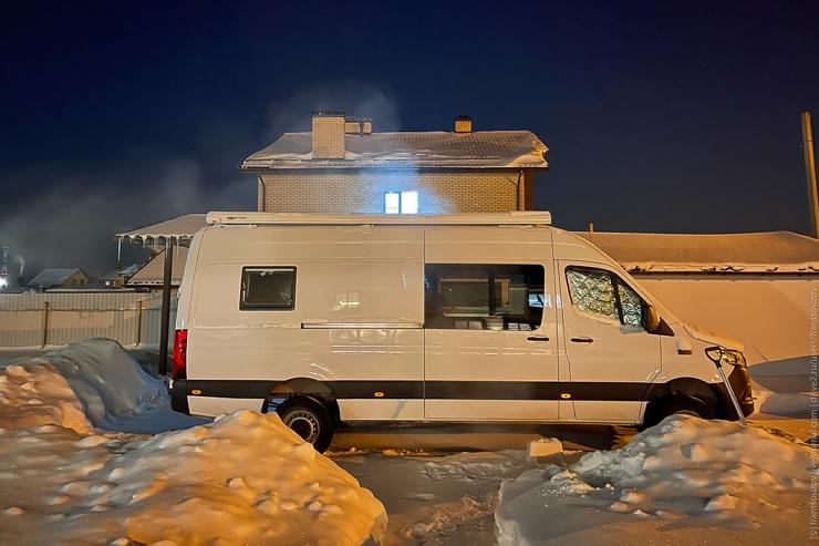 Ночёвка в автодоме в -27C  испытание теплоизоляции (30 фото,видео)