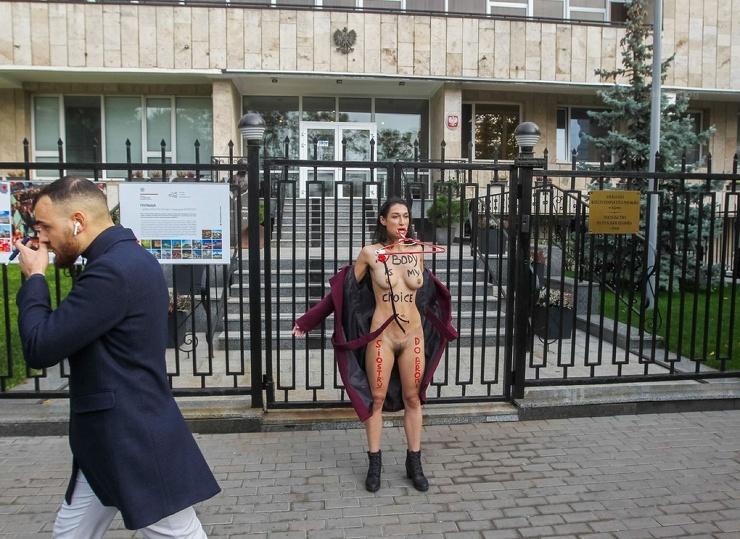 Активистка Femen разделась возле посольства Польши в Киеве (ВИДЕО 18) (16 фото)