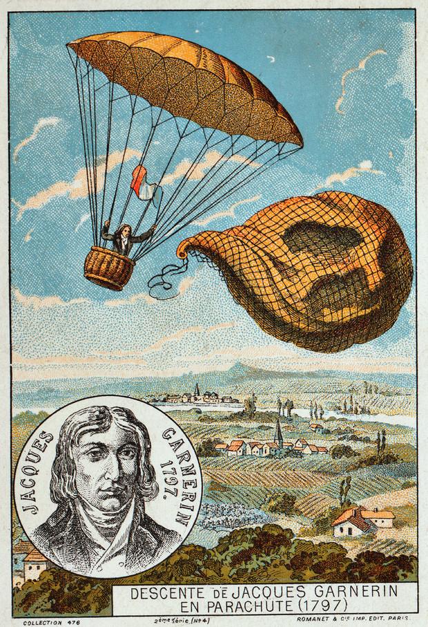 223 года назад человек впервые в истории спрыгнул с парашютом с воздушного шара и с высоты 1 км
