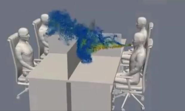 Ученые показали, как вирус распространяется в офисе после кашля (видео)