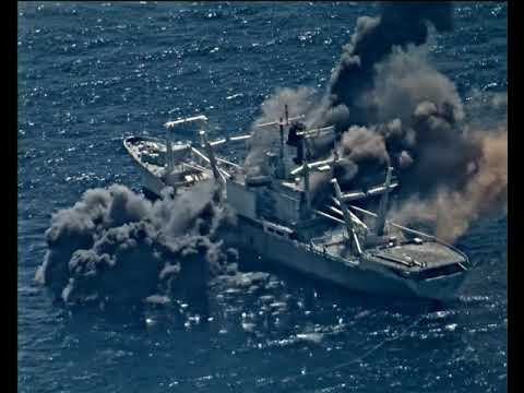 Атаку корабля в Тихом океане показали на видео