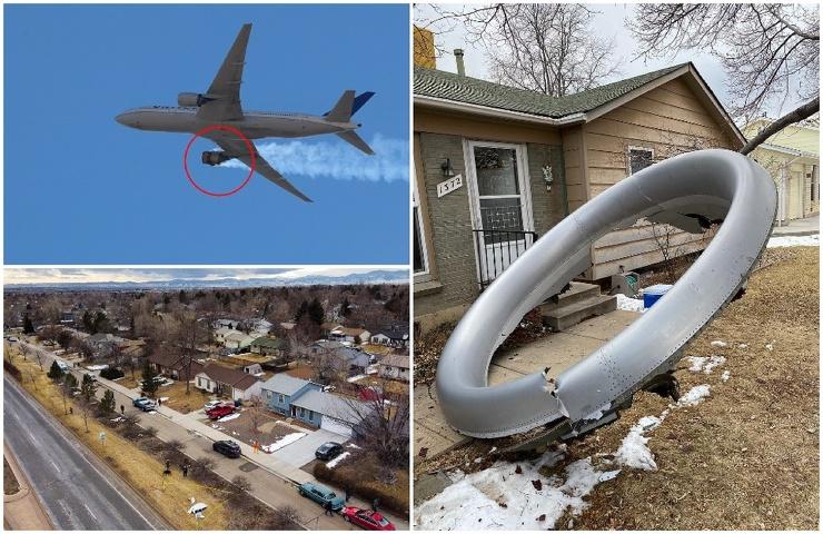 Обломки двигателя пассажирского Boeing 777 упали на жилой квартал в Денвере  фото  видео