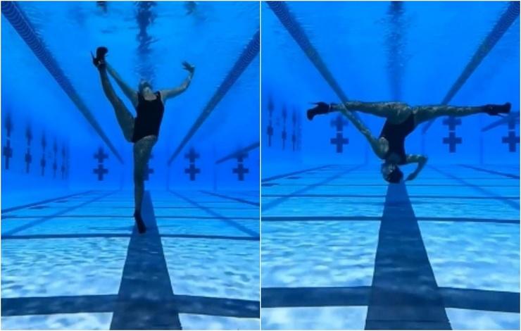 Танцующая королева русская пловчиха показала подводный танец в туфлях и ажурных колготках (20 фото)