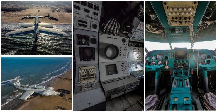 Каспийское морское чудовище летательный аппарат советской эпохи вытащили на дагестанский пляж