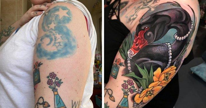 Новые татуировки на месте старых
