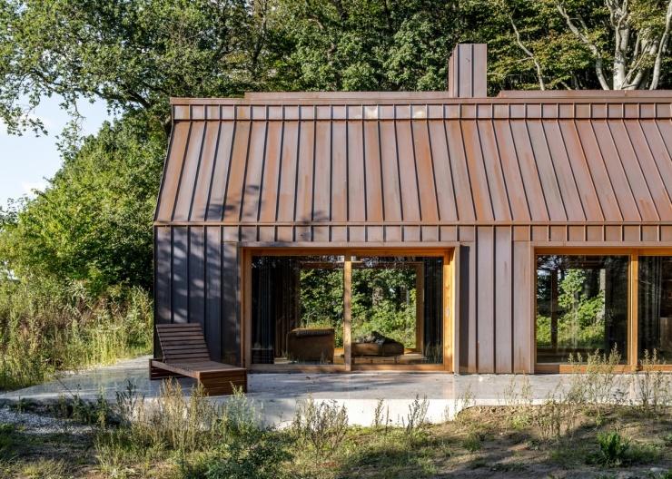 Дом для творческого человека в лесу у озера в Дании