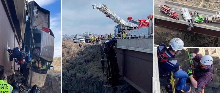 Невероятный момент пожилую пару спасли из пикапа, висящего на высоте 30 метров над каньоном (11 фото,видео)