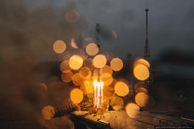 Космодром Байконур  запуск ракеты Союз-2 (22 фото)