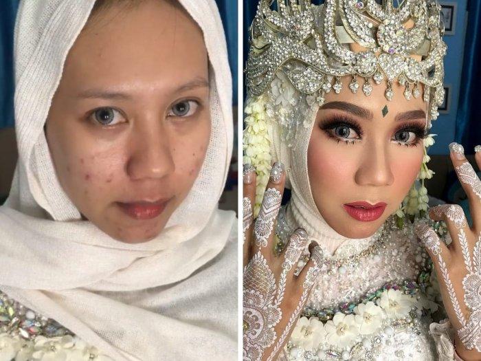 Невесты из Индонезии до и после нанесения макияжа