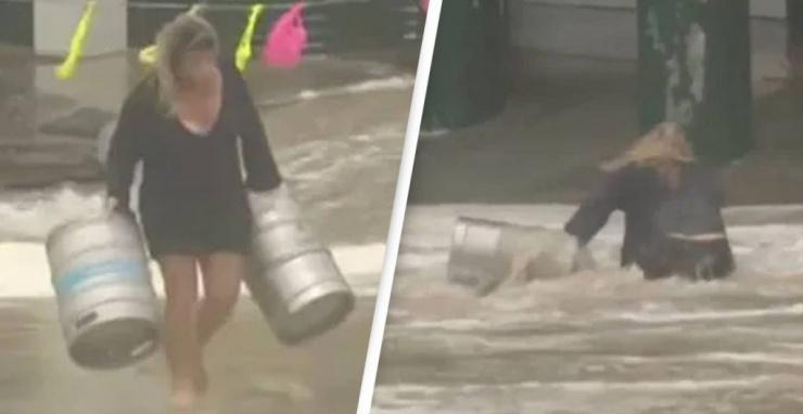Видео дня женщина из Австралии спасает пивные бочки от шторма