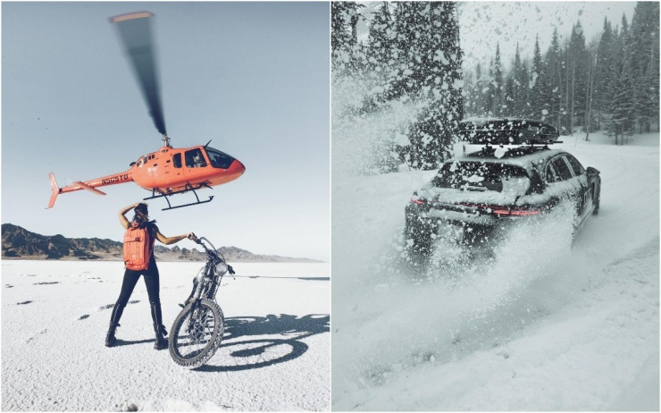 Автомобили, мотоциклы и вертолет динамичные снимки Аарона Бримхолла