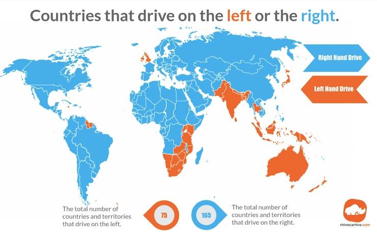 Карта: в каких странах правостороннее движение, а в каких — левостороннее