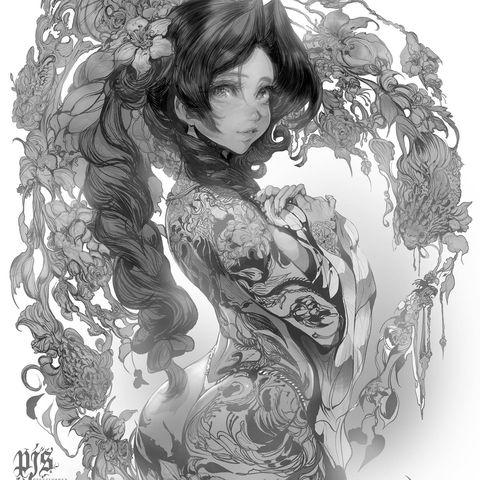 Прелестные аниме-девочки художника Джинсуки Пака