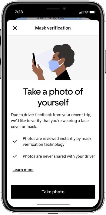 Uber будет просить пользователей сделать селфи, чтобы подтвердить наличие маски