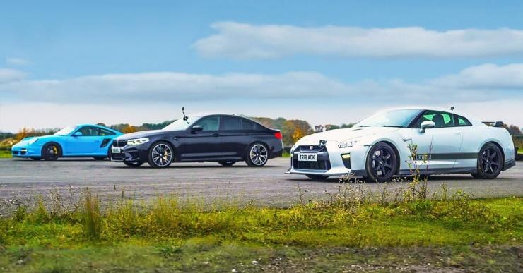 Nissan GT-R против Porsche 911 Turbo и BMW M5 Competition: кто кого?
